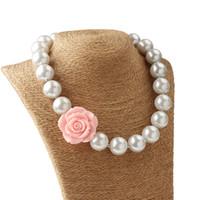 ingrosso gioielli di fiori acrilici-2019 Perle per bambine Perle in acrilico Collana + Fiore in resina 3D Baby girl principessa gioielli accessori moda per bambini