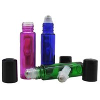 парфюмерные бутылки синие оптовых-Thick section 10ml color  perfume sub-bottle blue ball bottle color 10ml green red bead bottle with steel ball plastic cove