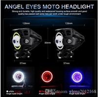 Wholesale car halo angel lights resale online - 2PCS W Motorcycle Headlights with Halo Angel Eyes Motorbike spotlight U5 U7 LED Moto Driving car Fog Spot Head Light Lamp DRL