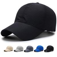 hızlı kurulama kapağı toptan satış-Yeni Ultra-ince Çalışan Kap çabuk kuruyan kumaş Yaz Kap Kadınlar Adam Unisex Hızlı Kuru Örgü Koşu Şapka Kemik Nefes şapka