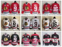 ingrosso patch blackhawks-Top Quality Chicago Blackhawks Bobby Hull Maglie Hockey # 16 Vintage CCM 9 Bobby Hull Jersey Winter Classic Rosso 75th Stitched A Patch