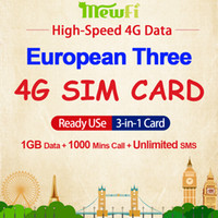 drei sim mobile großhandel-Mewfi Three Europa Travel Sim-Karte 1 GB Bundle + 1000 Minuten Anruf + Unbegrenzte SMS High-Speed ​​4G-Daten 3in1 CutFree-Handy-SIM-Karte