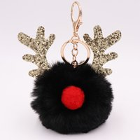 hote satış toptan satış-2019 Hote Satılık Sıfır payetler anahtarlık Noel boynuz yün anahtarlık bayan çantası anahtarlık hediye