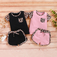 Wholesale kids clothes summer sport resale online - Baby Girls Sports Suit Infant Girls Leopard Pocket Tops T shirt Kids Casual Clothing Girls Splice Outfits Toddler Baby Clothes