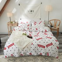 Wholesale red quilted bedding resale online - Insta Nordic Style English Letters Red Heart Wash Cotton Bedding Set For Adult Size Quilt Cover With Bed Sheet Pillowcase