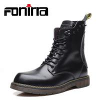 botines negros con cordones al por mayor-FONIRRA Cuero genuino Vaca Otoño Martin Zapatos Hombres Vintage Plus Tamaño 38-47 Botas de moto Negro Lace Up Ankle Boots 900 # 8932