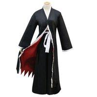 chaquetas de anime para hombre. al por mayor-Anime Bleach Kurosaki Ichigo Cosplay jacket + pants + shoes + wig Japonés Anime bleach Samurai traje Disfraz de Halloween hombres XXL