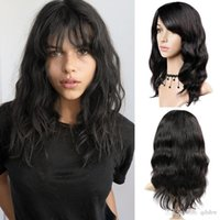 Wholesale brazilian lace wigs side bangs online - Bleached Knots Virgin Peruvian Lace Wig Side Bangs Glueless Lacefront Wig For Black Women Natural Wave Full Lace Human Hair Wigs Bang