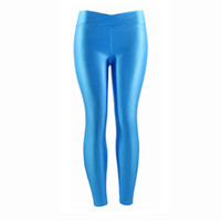 60e2334ddcc8a4 Fluorescent Color Women Workout Leggings V-waist Multicolor Shiny Glossy  Trousers Plus Size Female Elastic Casual Pants