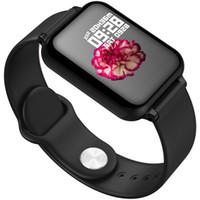 ücretsiz tansiyon monitörleri toptan satış-B57 Kadın Erkek Akıllı İzle iPhone Xiaomi Için Su Geçirmez Spor Izle Nabız Kan Basıncı Smartwatch Epacket Ücretsiz