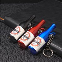 Wholesale torch key rings for sale - Group buy Newest Jet Straight Flame Inflatable Torch Beer Bottle Lighter No Gas Windproof Metal Cigarette Cigar Butane Lighters Key Rings Gift