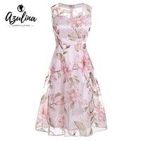 blumendruck organza großhandel-AZULINA Vintage Rosa Blumendruck Kleid Frauen Retro Ärmellos Eine Linie Midi Organza Kleid 2017 Sheer Sommer Damen vestidos