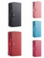 цепочка кошелек телефон дела оптовых-Съемный флип кожаный кошелек-цепочка для телефона Чехол для телефона на молнии Кошелек-браслет Сумочка для iPhone XS Max XR 7 Samsung S10 S9 Note9