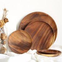 ingrosso vernici-Piatto Piatti circolari in legno per frutta Senza vernice Frutta secca Torta Snack Piatto Home Restaurant Piccolo piatto EEA493