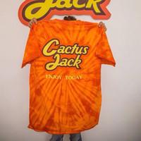 en iyi gömlek stilleri toptan satış-En iyi sürüm Yaz tarzı Kravat boyama Kaktüs Travis Scott Astroworld Sicko T Shirt Erkek Kadın Kısa kollu Moda tees