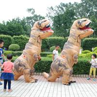 rex oyuncakları toptan satış-DHL T-Rex Şişme Açık Oyuncaklar 220 cm Dev Yetişkin Çocuk Dinozor Cosplay Noel Cadılar Bayramı Partisi Sahne Suits