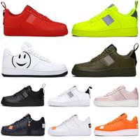 zapatillas de skate al por mayor-nike air force 1 af1 just do it Dunk utilitarios Hombres Mujeres Zapatos Barato Low Cut One 1 Zapatos Todo Blanco Negro 1s Clásico AF High Knit Skateboard Sports Shoes 36-45