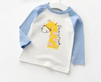 uzun tişört zürafa toptan satış-Sonbahar Yeni stil oğlan ise 2019 zürafa tavuk hayvan deseni Uzun kollu tişört moda çocuk giyim