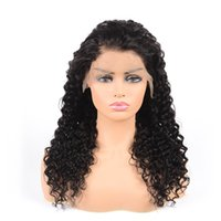 Wholesale unprocessed human hair curly wigs resale online - my queen unprocessed virgin human hair full lace wigs natural color loose curly Front lace wig pre plucked hairline