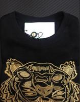 schwarzer tiger pullover groihandel-Stickerei tiger kopf pullover mann frau hohe qualität langarm Oansatz pullover Hoodies Sweatshirts jumper beste qualität Schwarz Gold