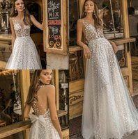 Wholesale bow illusion wedding dresses for sale - Group buy Muse by Berta Wedding Dresses Sheer Neck Lace Appliqued Bridal Gown A Line Beach Boho Simple See Through Wedding Dress With Bow