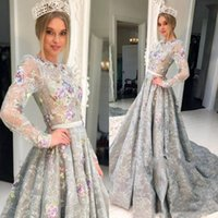 Wholesale customized sashes for sale - Group buy Vintage Lace Long Prom Dresses Long Sleeves Sweep Train Sash Customized Celebrity Vestidos de fiesta Evening Dresses