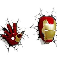 ingrosso l'uomo di ferro 3d ha portato le luci-Luce notturna per inviare adesivi Iron Man maschera Raytheon slitta led novità lampada da parete 3D