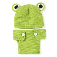 Wholesale baby diapers crochet animal resale online - Adorable Baby Frog Newborn Outfits Handmade Knit Crochet Baby Boy Girl Animal Frog Beanie and Diaper Cover Set Infant Halloween Photo Prop