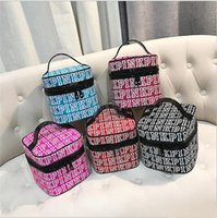 Wholesale train case cosmetic bags for sale - Group buy Love Pink Cosmetic Makeup Bag Train Case Classic Portable Double Zipper Make Up Storage Wash Bag Cases Multifunction Pouch for Women