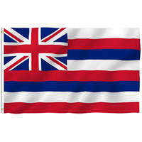 grommetler afiş toptan satış-3FT*5FT American Hawaii State Flag 3x5FT USA Hawaii Polyester Flag Banner White Sleeve And Two Grommets EEA244