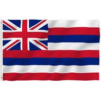 pancarta de ojales al por mayor-3FT * 5FT Bandera Estadounidense del Estado de Hawaii 3x5FT EE. UU. Bandera de la Bandera de Poliéster de Hawái Manga Blanca y Dos Ojales EEA244