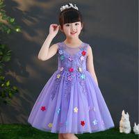 faldas esponjosas moradas al por mayor-Niña verano púrpura princesa vestido niñas rosa falda esponjosa nuevo vestido de flores de moda infantil