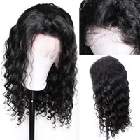 Wholesale brazilian short virgin curly wig resale online - 4x4 Closure Wig Curly Pre Plucked Virgin Brazilian Glueless Short Bob Curly x4 Lace Front Human Hair Wigs For Black Women
