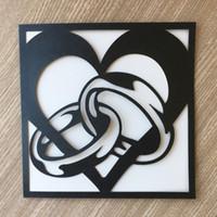 kalp kesme alyans toptan satış-Benzersiz zarif Serin beyaz ve siyah yüzükler kalp hollow lazer kesim inci kağıt Zarf düğün davetiyesi evlilik annivery