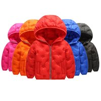 Wholesale baby snow clothing resale online - Kids Down Hoodies Coats Baby Boys Solid Autumn Long Sleeve Cotton Jacket Kids Casual Clothes Girls Winter Pocket Jacket Snow Coat