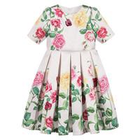 vestidos de casamento de verão bebê menina venda por atacado-Menina vestido de princesa 2019 verão crianças flores dress para roupas de bebê crianças festa de casamento floral print dress c6312