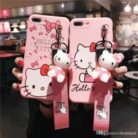 Wholesale kitty for iphone online – custom shopitem High quality Cute Hellow kitty Phone Case with wristband for iPhone plus iphone xs max Cover soft TPU cases with kickstand