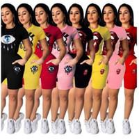 labios amarillos al por mayor-Labios Lentejuelas Traje de manga corta Impresión de ojos Conjunto de camisetas Mujeres al aire libre Correr Ocio Kit de ropa de cuello redondo Amarillo 39lh C1