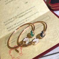 агатовая черная роза оптовых-925 sterling silver luxury designer jewelry women bracelets Rose gold Natural black agate malachite with white fritillary