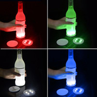 Wholesale new year decoration battery resale online - Battery Powered LED Bottle Stickers Coasters Lights LED Party Drink Cup Mat Christmas Vase New Year Halloween Decoration Lights