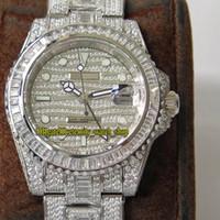 diamante relógio gmt venda por atacado-TW versão Superior 116769TBR ETA 2824 GMT Dual fuso horário Diamantes Mecânicos Dial Mens Watch Safira 904L Aço Caso Diamantes Relógios De Luxo