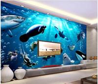 Wholesale shark decor resale online - WDBH d wallpaer custom photo Underwater world dolphin shark fish background living room home decor d wall murals wallpaper for walls d