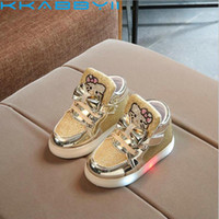 Wholesale children shoes kitty resale online - Children Shoes With Led Light Spring Girls Fashion Glowing Sneakers Kids Cartoon Kitty Flats Shoes Up
