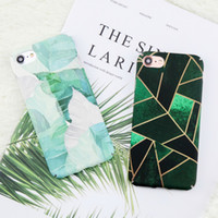 Wholesale phone pouches water back resale online - For iphone Case Retro Green Plants Leaf PC on For iphone S Plus X Case Geometric Graphic Leaves Phone Back Cover