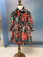meninas chiffon denim vestido venda por atacado-Meninas Chiffon Leopard Flor Vestidos de Verão 2019 Crianças Boutique Roupas 2-8 T Meninas Mangas Compridas Vestidos Produtos Especiais
