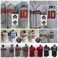 remendos da camisa dos homens venda por atacado-Vintage 2018 Corredor da Fama Atlanta 10 Chipper Jones Braves Camisas De Basebol Mens Branco 1995 World Series Jones Costurado Camisas 30o Remendo