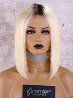 seda ombre venda por atacado-Humano Lace cabelo Frente Perucas Ombre Cor Remy brasileira Silk Cabelo Liso Com Preplucked Nós descorados Natural Hairline