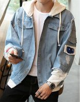 mann freie verschiffenkleidung koreanisch großhandel-Kostenloser Versand Loch Jeansjacke männlichen Herbst koreanische Version des Trends 2018 neue Herrenbekleidung auf der wilden Pullover Herrenjacke