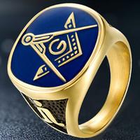 anéis maçônicos americanos venda por atacado-Anéis de Hip Hop dos homens Europeus e Americanos Maçônicos Anéis de Ouro dos homens de Aço Titânio Anéis dos homens da Igreja Irmandade Anel Atacado