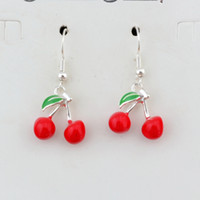 Wholesale charms hooks for sale - Group buy Red Enamel Cherry Fruit Charm Earrings Silver Fish Ear Hook pairs Antique Silver Chandelier Jewelry